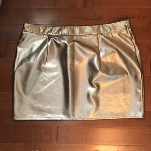Worn once Forever 21 rose gold pleather skirt